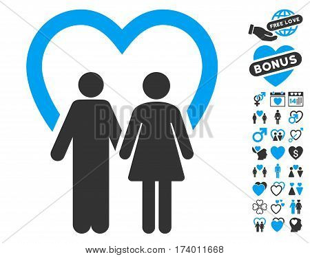 Marriage icon with bonus decorative icon set. Vector illustration style is flat iconic blue and gray symbols on white background.