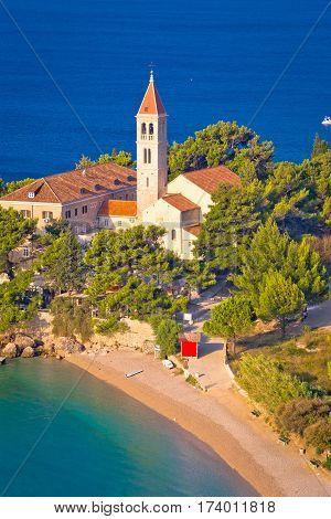 Bol Beach And Monastery Aerial View