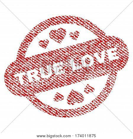 True Love Stamp Seal vector textured icon for overlay watermark stamps. Red fabric vectorized texture. Symbol with unclean design. Red ink rubber seal stamp with fiber textile structure.