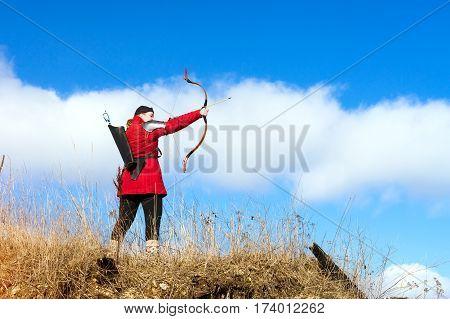 Archer Shoots An Arrow At Target