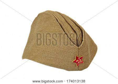 Soviet Army soldiers forage-cap isolated on white background