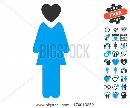 Mistress icon with bonus dating pictograms. Vector illustration style is flat iconic blue and gray symbols on white background.