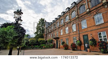 Danmark. old building in the park Tivoli copenhagen
