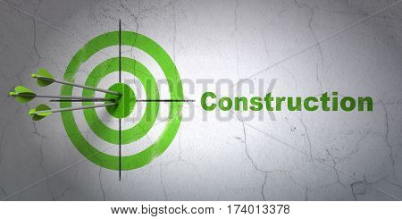 Success building construction concept: arrows hitting the center of target, Green Construction on wall background, 3D rendering