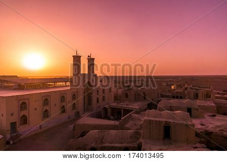 beautiful sunset over Ghoortan mosque in Iran