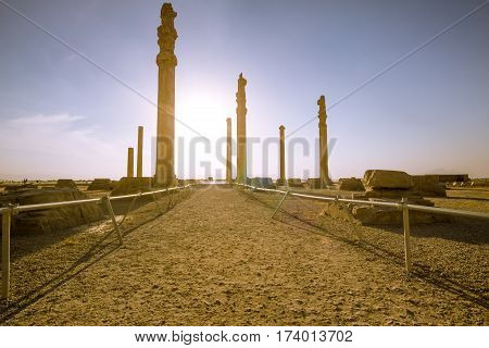view on the ruins of persepolis in Iran