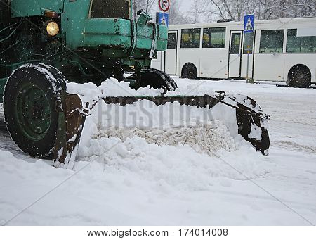 Snow Removal Vehicle Removing Snow