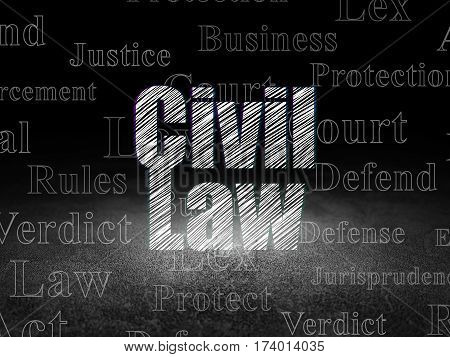 Law concept: Glowing text Civil Law in grunge dark room with Dirty Floor, black background with  Tag Cloud