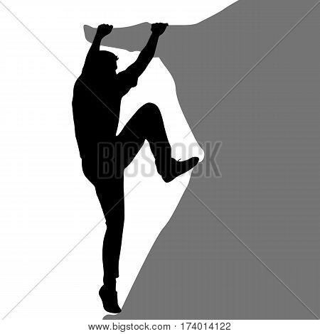 Black silhouette rock climber on white background. Vector illustration.