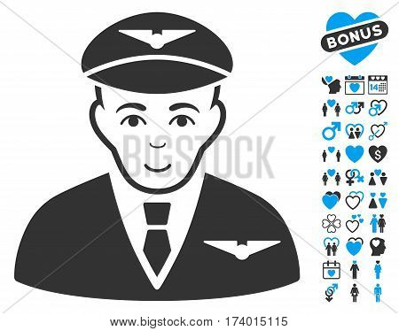 Pilot icon with bonus marriage design elements. Vector illustration style is flat iconic blue and gray symbols on white background.