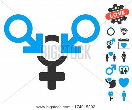 Polyandry pictograph with bonus decoration images. Vector illustration style is flat iconic blue and gray symbols on white background.