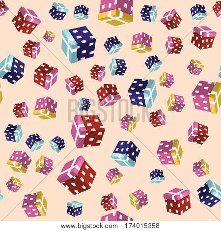 Seamless Background Gift Boxes. Vector Illustration Design for Birthday, Children Party, Baby Shower, Wedding. Backdrop Can be Used for Wallpapers, Curtain, Plates, Surface Textures, Wrapping