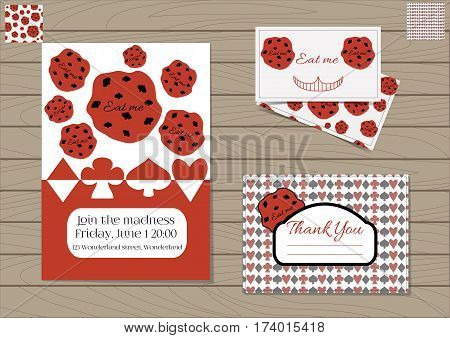 Cookie Eat Me Alice in Wonderland. Set Collection of Invitation card, Thank you Note, Business Card. Printable Vector Illustration for Graphic Projects, Parties, Web, Celebrations. Wooden Background