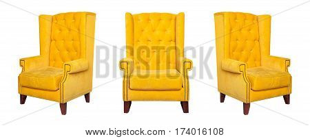 Textile classic yellow chair isolated on white background. View from different sides - front and two side views