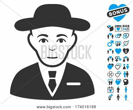 Secret Service Agent icon with bonus dating symbols. Vector illustration style is flat iconic blue and gray symbols on white background.