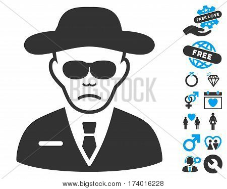Security Agent icon with bonus dating symbols. Vector illustration style is flat iconic blue and gray symbols on white background.