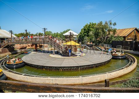 SALOU/ SPAIN - MAY 12, 2015. Attraction Grand Canyon Rapids in the theme park Port Aventura in city Salou, Spain.