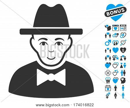 Spy icon with bonus dating icon set. Vector illustration style is flat iconic blue and gray symbols on white background.