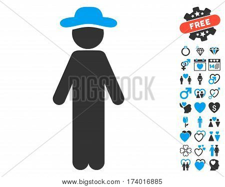 Standing Gentleman icon with bonus decoration pictograms. Vector illustration style is flat iconic blue and gray symbols on white background.