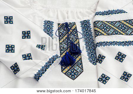 Ukrainian National Clothes. Tradicional Female Embroidered Shirt.