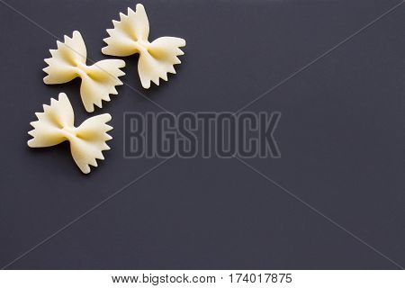 Pasta Bows On A Black Background