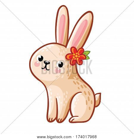 Vector illustration of a hare with flower on a white background.