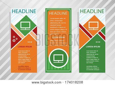 Monitor Icon On Vertical Banner. Modern Banner, Brochure Design Template.