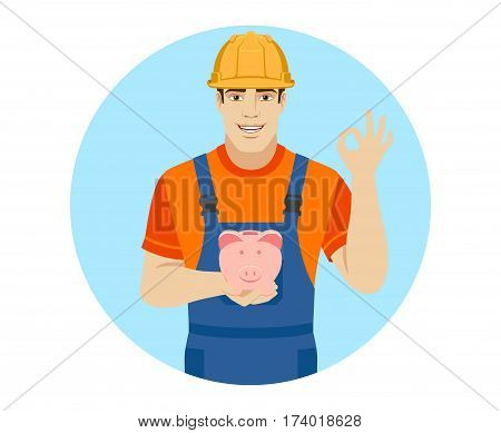 Builder holding a piggy bank and showing a okay hand sign. Portrait of builder in a flat style. Vector illustration.
