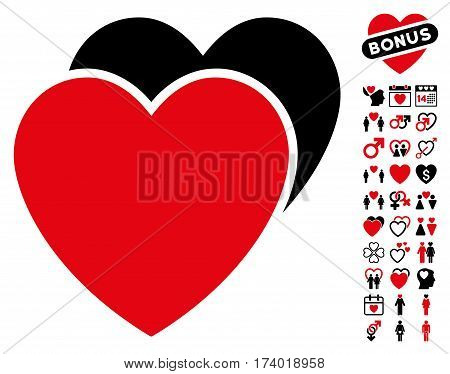 Love Hearts pictograph with bonus decorative pictograph collection. Vector illustration style is flat iconic intensive red and black symbols on white background.