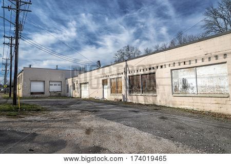 An old service or manufacturing facility that has long been abandoned.