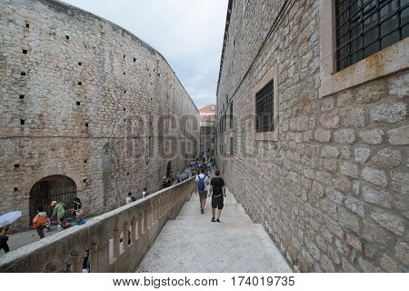 DUBROVNIK, CROATIA - circa july 2016: Old city streets in Dubrovnik, the UNESCO World Heritage site.