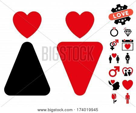 Lovers pictograph with bonus valentine pictograph collection. Vector illustration style is flat iconic intensive red and black symbols on white background.
