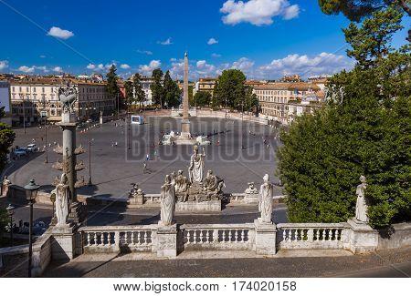 Square Piazza del Popolo in Rome Italy - architecture background