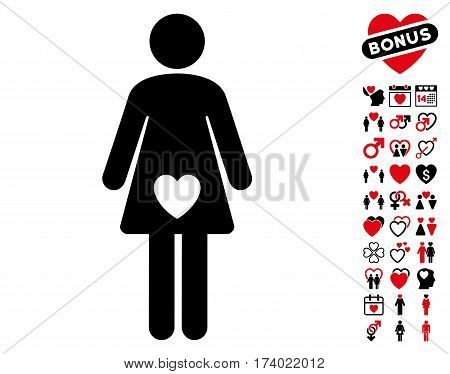 Mistress pictograph with bonus valentine graphic icons. Vector illustration style is flat iconic intensive red and black symbols on white background.