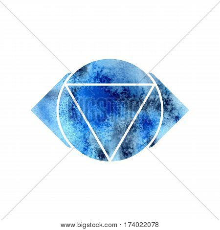 Ajna chakra. Sacred Geometry. One of the energy centers in the human body. The object for design intended for yoga. Vector illustration.