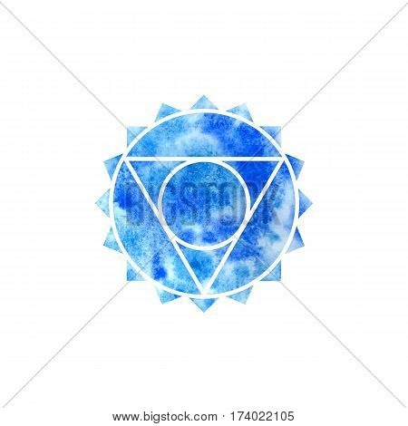 Vishuddha chakra. Sacred Geometry. One of the energy centers in the human body. Object for design intended for yoga. Vector illustration.