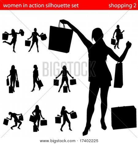 women in shopping silhouette set 2