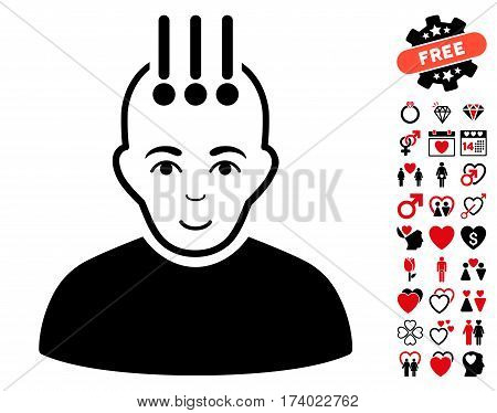 Neural Interface pictograph with bonus lovely icon set. Vector illustration style is flat iconic intensive red and black symbols on white background.