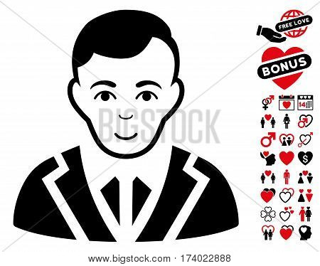 Noble icon with bonus romantic symbols. Vector illustration style is flat iconic intensive red and black symbols on white background.