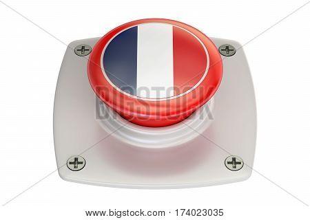 France flag push button 3D rendering on white