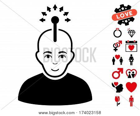 Optical Neural Interface pictograph with bonus love pictograph collection. Vector illustration style is flat iconic intensive red and black symbols on white background.