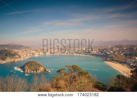 La Concha Bay seen from Igeldo Mount. Donostia-San Sebastian. Basque Country. Gipuzkoa. Spain. Europe.