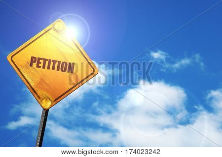 petition, 3D rendering, traffic sign