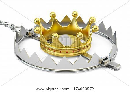 Trap with golden crown 3D rendering isolated on white background