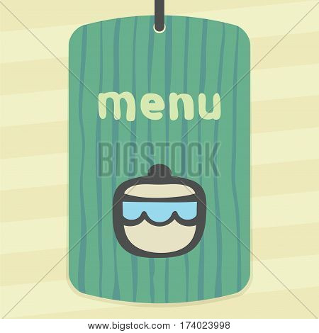 Vector outline sugar or jam bowl icon on label with hand drawn striped background. Elements for mobile concepts and web apps. Modern infographic logo and pictogram.