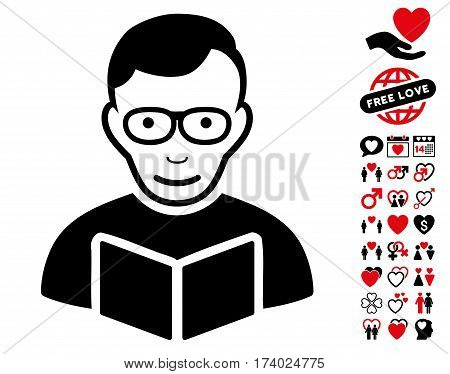 Reader pictograph with bonus lovely pictograph collection. Vector illustration style is flat iconic intensive red and black symbols on white background.