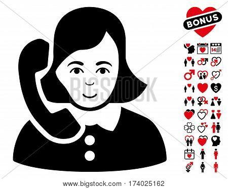 Receptionist pictograph with bonus amour design elements. Vector illustration style is flat iconic intensive red and black symbols on white background.