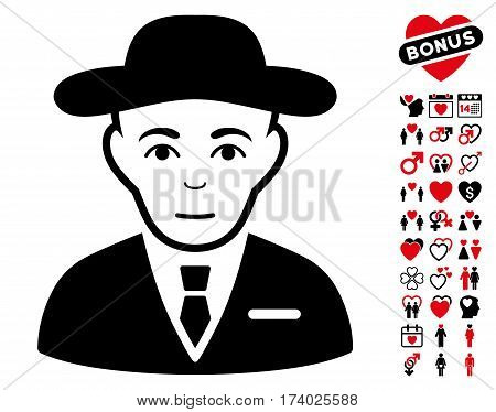 Secret Service Agent pictograph with bonus amour clip art. Vector illustration style is flat iconic intensive red and black symbols on white background.