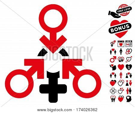 Triple Penetration Sex pictograph with bonus love clip art. Vector illustration style is flat iconic intensive red and black symbols on white background.