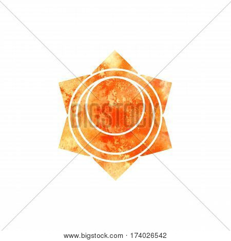 Svadhisthana chakra. Sacred Geometry. One of the energy centers in the human body. The object for design intended for yoga. Vector illustration.